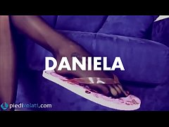 Daniela shows us how sexy can be a pair of flip flops worn with this special 5 toes pantyhose