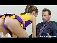 thumb cheerleader  riley reid tastes coaches jizz
