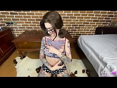 Flame Jade Play Anal Beads and Deep Sucking Big Cock - Cum on Glasses
