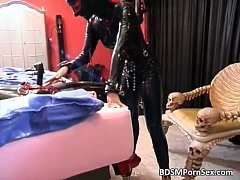 Dirty brunette in latex gets bonded
