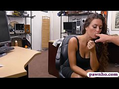 Sweet amateur brunette babe pursuaded to pawn her yummy pussy and gets fucked by pervert pawn keeper at the pawnshop