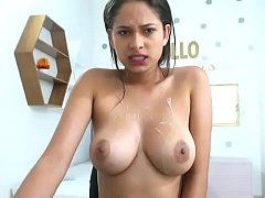 Young slutty Latin girl teased her nice tits