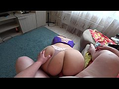 BBW shakes big ass and girlfriend fucks her hairy pussy. Lesbians pov.
