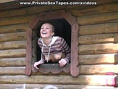 Blonde Russian Girl banged in the barn