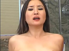Asian brunette with nice tits Lacey Tom gets hercunt fucked in the toilet room