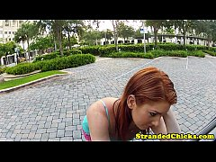 Pulled redhead amateur gets cummoustache