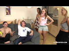 Watch three hot babes help two guys relax after their favourite team lose the soccer game
