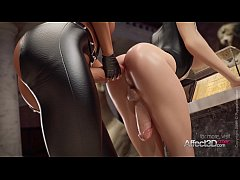 Blonde and black hair futanari lesbians fucking in a museum in a 3d animation