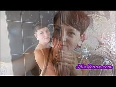 Sexy red-haired teen gets fucked in the shower