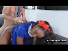 Rich guy bangs new black chick from school