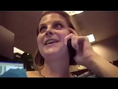 married slut gets knuckle blasted while talking to her husband at work