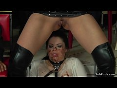 Brunette slave Lucia Love flogged in white see through dress by Mistress Fetish Liza in public then in crowded bar gets piss and facial cumshot