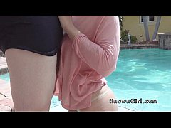 Amateur has morning sex at outdoor pool