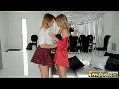 Cheating stepmom MILF and teen blondes in a threesome