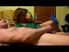 Jerking off, she licks and swallows, Russian ha...
