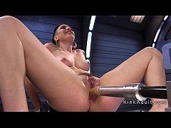 Brunette has to much anal fucking machine