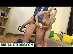 Dominica gets anal stretched by cutie with giant dildo