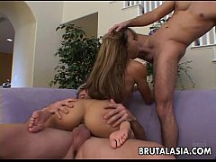 Bubble butt Asian bitch has a nasty threesome