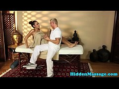 Ebony babe banged by her masseur