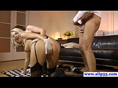Glam teen threeway with mature couple