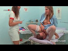 Lusty gynecologist fisting and licking her patients pussy