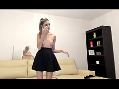 Blonde european teen shows boobs and dances in front of cam