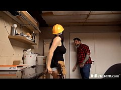 Sexy big boobs babe plays with the handymans bi...
