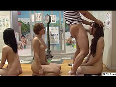 JAV stopping the time at onsen featuring many stark naked women in a neverending blowjob lineup with English subtitles in HD