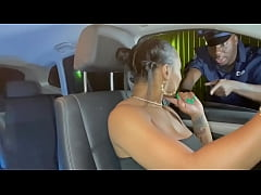Ebony slut gets pulled over by cop and fucked h...