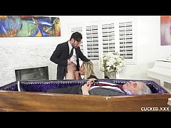 Grieving Blonde Widow Blows and Fucks Stiff Dic...