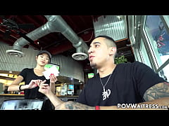 Young Asian waitress Vina Sky does anything for...