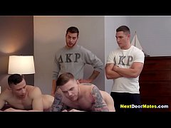 College gay jocks fucked in foursome to join th...