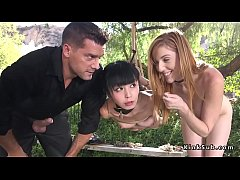 Hanged Asian fucked by nasty couple