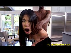 Petite asian babe pounded with bbc in kitchen