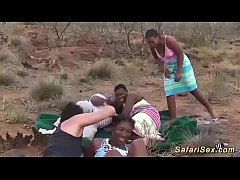 hot chocolade african girls in a real interracial outdoor groupsex bukkake fuck orgy