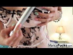 ornstar Marica shows off her new silver vibrator