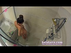 Watch as amateur soaps up her naked body in the...