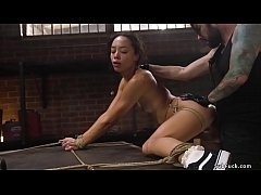 Slim ebony slave fucked in bondage