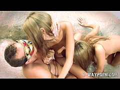 HD Outdoor Threesome with 2 Blonde Teen
