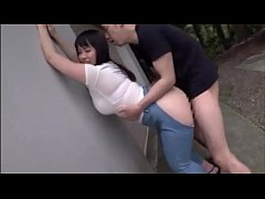 Plump Japanese teen with ripped jeans loves getting doggystyled