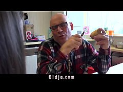 Sweet teenager fucking the old cook cum swallowing in the kitchen