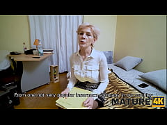 MATURE4K. Bearded man helps mature in stockings satisfy her sexual needs