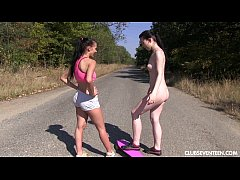 Naked skater lesbian teens dildos pussies outdoors