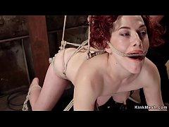 Bound in doggy position slave gets vibed