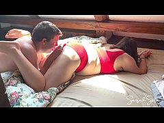 Couple has hot intense sex in the morning - doggystyle - blowjob - 69 - cum on her underwear - sarah sota