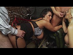 Hard and Rough Hardcore Group Sex of a TV Presenter and her BFF in a barn
