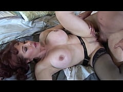 Insatiable milf sucks and presses the cock between her tits