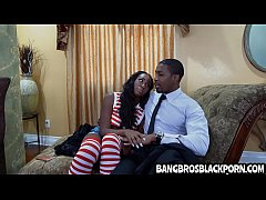 Naughty black teen gets aroused looking at her ...