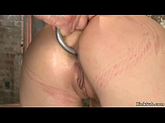 Babe in rope bondage gets ass hooked