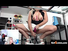 Blonde in office orgasm with squirt on boss t-s...